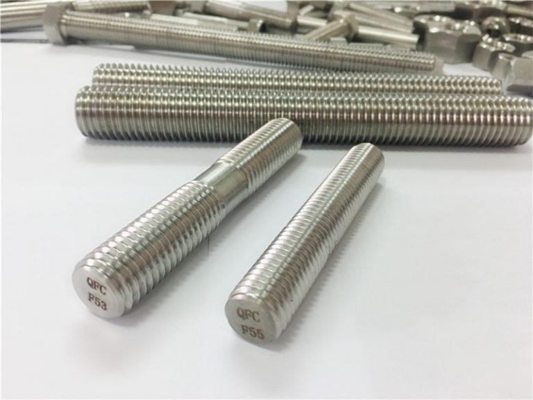 Parafusos de aceiro inoxidable mecanizados por encargo de dobre punta roscados